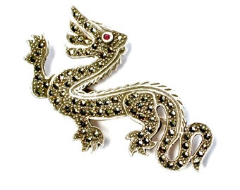 """Vintage Sterling Silver Dragon Brooch Pin Marcasite Chinese Jewelry Large 1.9"""""""
