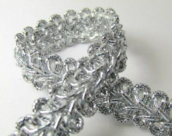 Metallic Silver 1/2 inch Raised Heavy Gimp Decorator or Upholstery Trim