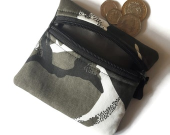 Coin purse Camouflage grey black change zipped card pouch camo