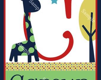 Personalized Zoo Giraffe 8x10-inch Initial/Name Art Print
