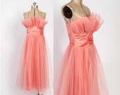 Vintage 50s PROM DRESS / 1950s Papaya Tulle Cupcake Crumb Catcher Pleated Bust Party Dress S