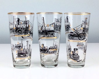 Vintage Libbey Steam Engine Pint Glass Set of Three, Vintage Barware, Steampunk