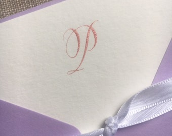 Hand Lettered Monogram Stationery