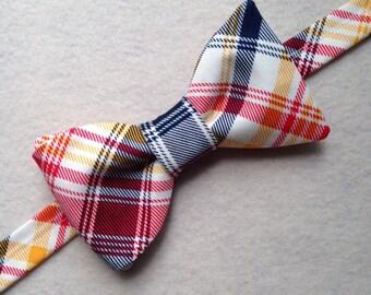Plaid Bow Ties / Custom Made Bow Ties / Men's Plaid Cotton Bow Tie / Pre-Tied Bow Ties / Wedding Bow Ties / Handmade Bow Ties