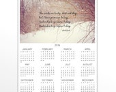 Robert Frost calendar Miles to go quote 2016 wall print Woods lovely dark deep Forest photography Single sheet 12 months design Poem poetry