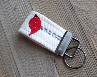 Key fob key chain with red bird, bird key chain, mini key fob, fabric key fob with bird, red bird