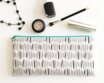 Zipper Pouch, Cosmetic Bag, Pencil Pouch, Pencil Case, Modern Black and White, College, Teens, Women, Organize, Gift under 20