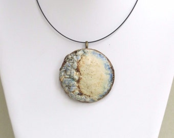 Textured Blue Clay Pendant,  Large Round Ceramic Statement Necklace, Organic Pottery Art Choker, Rustic Contemporary Jewelry