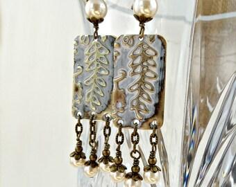 Flower Earrings, Wisteria Textured Metal, Pearl Earrings, Floral Embossed Jewelry, Bohemian Style