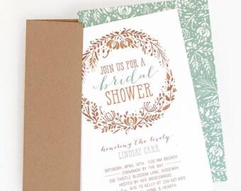 Bridal Shower Invitation, Bridal Shower Invite // WILDFLOWER WHIMSY