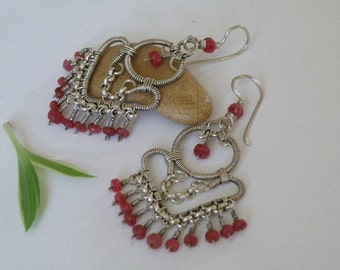 Ruby gemstone and Sterling Silver wire wrapped Earrings - faceted natural stones - Elegant Tribal Jewelry
