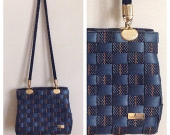 SALE- Vintage 1990s blue woven purse