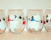 White West Highland Terrier Silhouette Set of 4 - 21 oz. Stemless Wine Glasses Hand Painted Wine Glassware Terrier Gift  Dog Lover Westie