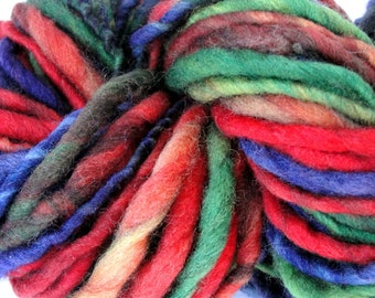 Handspun Chunky Bulky Yarn Hand Painted  Slightly Thick and Thin  Superwash Fine Merino Wool / 54yards /  Ratatouille / 3.1 ounces