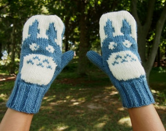 My Neighbor Totoro Inspired Knit Mittens Blue and White Knitted Mittens - My Neighbor Totoro Mittens - Blue and White Winter Mittens
