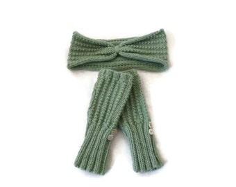 Womens Green Headband, Knit Headband, Turban Headband, Fingerless Gloves, Green Gloves, Gift for Her