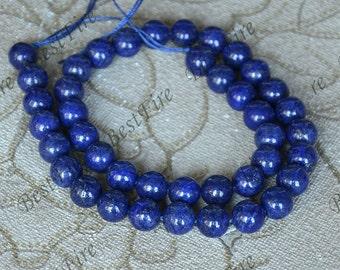 Single 10mm round Lapis Lazuli , Charm Lapis Lazuli beads, large Lapis Lazuli, Gemstsone Beads, Blue Lapis Gold Flecks One Full Strand