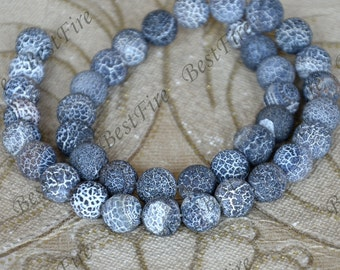 20 Strands Single 10mm Black Weathered Agate stone Beads, Round Agate stone Beads,agate stone beads loose strands,agate beads findings