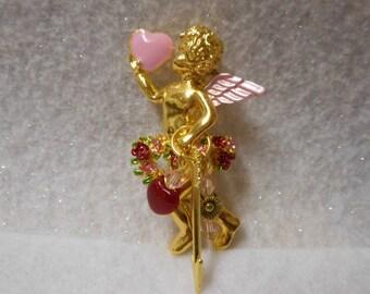Cupid Brooch, Valentine Brooch, Valentine Jewelry, Heart Brooch, Brooch with Velvet Bag