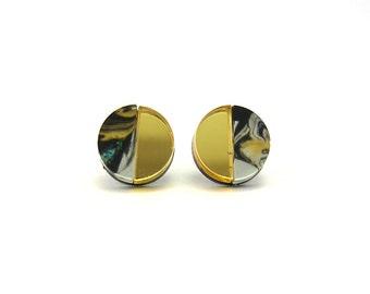 APSE Stud Earrings in Tiger's Eye Marble - Marble Earrings, Crescent Earrings, Gold Earrings, Half Moon Earrings, Swirl Earrings, Post