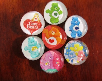 CARE BEAR MAGNETS Glass Bubble Magnets