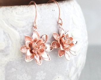 Lotus Flower Earrings Rose Gold Daisy Drop Earrings Mothers Day Gift for Women Nickel Free Water Lily Unique Small Floral Dangle