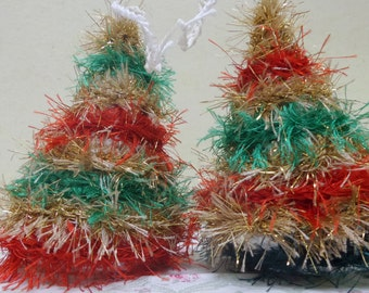 2 Mini Christmas Tree Ornament, Green, Red and Gold Christmas Tree Mobile