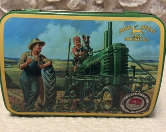 FALL SALE Vintage John Deere Tractor Farm Machinery Tin Comtainer Americana Advertising