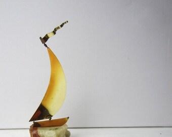 ON SALE Vintage DeMott Sailboat Sculpture - Stone and Brass - Nautical - Coastal - Beach House - Decor