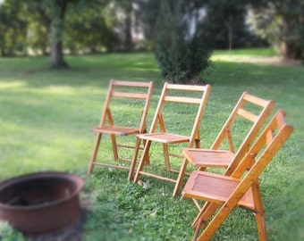 ON SALE Four Vintage Wooden Folding Chairs - Acme Chair Company