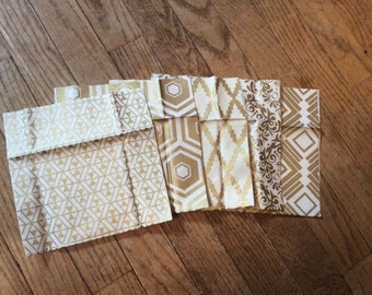 Gold Reusable Snack Bags ~ 6 pack