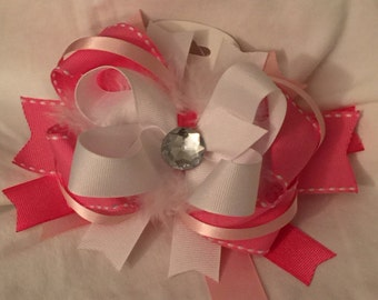 Pink and White Over The Top Bow