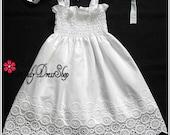Beach flower girl dress, off white flower girl dress, white summer dress for girls,  white soft cotton dress, off white cotton eyelet dress