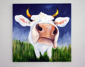 Cow Painting, Cow Art, 30x30 Cow Painting, Farm Animal Art, Animal Portrait