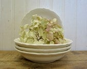 "Four Vintage Creamy White Scalloped Ironstone Type 5"" Berry Bowls"