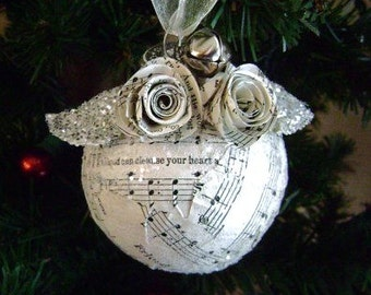"""Approx 3"""" med vintage recycled hymnal sheet music and paper spiral  flowers with glitter Christmas ornament"""