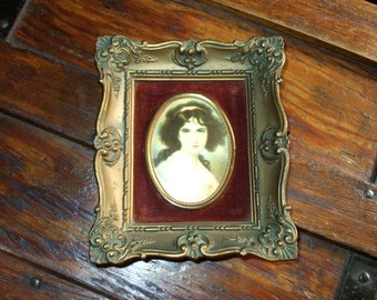 Cameo Creation Portrait Print Ornate Victorian Vintage Antique Gold Frame Hubak Lady