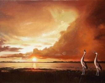 Sandhill Cranes 11 x 17 print (image 10.5 x 16) personally signed by artist RUSTY RUST / C-95-P