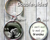 """DOUBLE SIDED - Ultrasound \ Sonogram keychain or necklace - Add your message - I can't wait to meet you - Love at first sight - 7/8"""" image"""