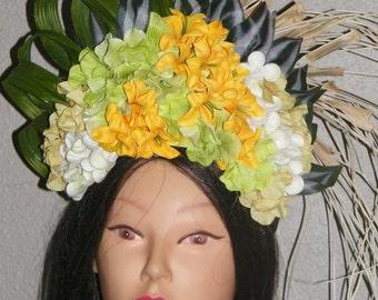 Tahitian tropical flower Headdress niau blanc