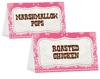 Cowgirl / Wild West Themed Food Tent Card, I Will Customize for You, Print Your Own