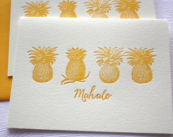 Pineapples Letterpress Cards Hawaii Aloha Mahalo Honey Gold