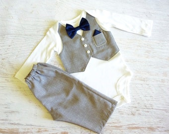 Grey Tuxedo Bodysuit Set For Wedding, Baptism, Photo Prop, or Birthday with Matching Removable Bow Tie
