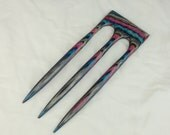 Reserved for Nicole Three Prong Hair Fork made from Mulberry DymondWood-  Very durable. Water resistant.