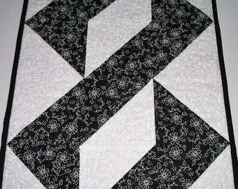 Floral Table Runner Black and White, chain or braid