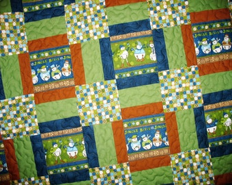 Snowman, Lap Quilt, Jingle Bells, Large Afghan size, green, blue and brown