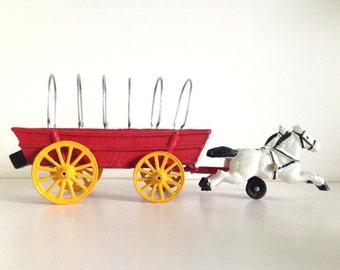 Antique Cast Iron Horse & Wagon