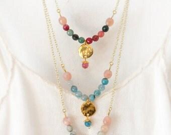Beaded Gemstone Necklace,  Delicate Agate Necklace,  Bohemian Necklace,  Minimal,  Boho,  Free Shipping