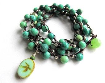 "Semi precious boho wrap bracelet / necklace, beaded, crochet bracelet, ""aqua sky"", gift for her, crochet jewelry, fall fashion, boho jewelry"