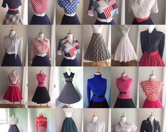 1950s 1960s Wholesale BULK Vintage Button Down Long Short Sleeve Blouse Lot Ascot Tie Neck Skirt Lot ANY 15 for 125.